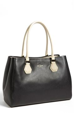 $478, Black Leather Tote Bag: kate spade new york Catherine Street Wensley Leather Tote Black. Sold by Nordstrom. Click for more info: http://lookastic.com/women/shop_items/138278/redirect