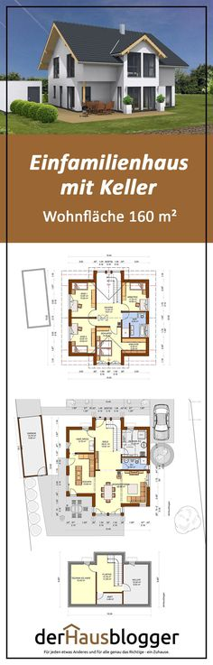 In this design over an approx. 160 m² gable roof house, the . - In this design over an approx. 160 m² gable roof house, the … – Architectural style – # Arch - Farmhouse Architecture, Modern Farmhouse Exterior, Modern Architecture House, Architectural Design House Plans, Basement Layout, House Roof, Gable House, Craftsman House Plans, Roof Design