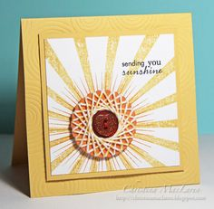 sunshine handmade card ... string art wrapped of a scalloped circle ... like the use of two different rays stamps ... soft yellow and orange ...