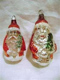 Vintage 1940's SANTA CLAUS Glass Christmas Ornaments Completed