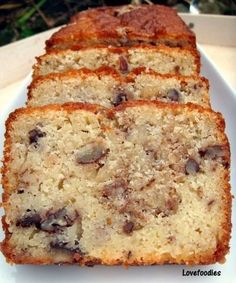 Moist Pecan Almond Loaf Cake.  The flavor combo is just divine!  #cake #pound #pecan #almond