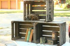 Vintage Nest of Small Fruit Crates, Storage, Shelves, Set of Three, Primitive, Rustic, Fruit Boxes