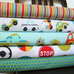 Bright Aqua and Red Boy Car Fabric Peak by RaspberryCreekFabric. $20.37, via Etsy.