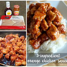 Three Ingredient Orange Chicken… YUMMY! Since I started the sauce early, it simmered, sat for 20-30 extra mins. EVERYONE LOVE IT!