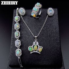 ZHHIRY Natural Fire Opal Gemstone Jewelry Sets Genuine Stone Solid 925 Sterling Silver Precious Stone Woman Prom -- This is an AliExpress affiliate pin.  Click the image to view the details on AliExpress website
