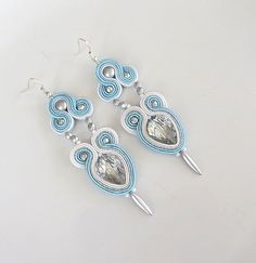 Blue earrings Soutache Earrings blue Earrings  white by sutaszula