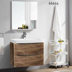 600mm Bathroom Basin Vanity Unit Storage Wall Hung Cabinet Furniture Grey Oak · $163.99 Bathroom Sink Cabinets, Bathroom Basin, Bathroom Toilets, Bathroom Storage, Oak Vanity Unit, Cloakroom Vanity Unit, Vanity Sink, Sink Units, Wall Units