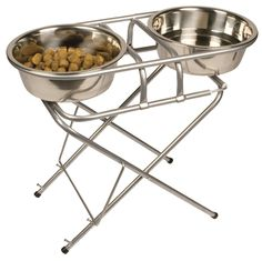 Pet Zone Stainless Steel Adjustable Elevated Dog Bowl and Stand Set ** Check out this great image  : Dog bowls