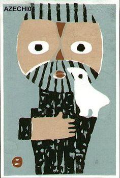 Azechi Umetaro: Mountain Man and Bird - Asian Collection Internet Auction