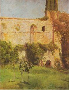 Eliseo Meifrén Roig. Convento de San Luis, San Vicente de la Barquera. Óleo sobre lienzo. Firmado. 76 x 58 cm.