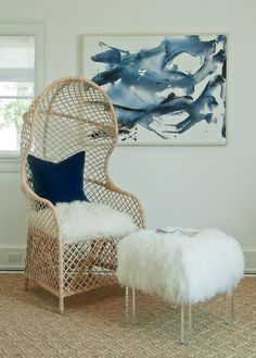lucite and Mongolian lamb fur ottoman & wicker dome chair