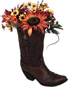 Western Art, Western Decor - Hand Painted Faux Cowhide Cowboy Boot Decorative Vase