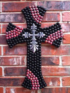 Embellished Black and Red Wall Cross $65.00.. or you could make it....cheaper