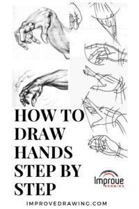 How to Draw Hands Step by Step - Improve Drawing - Pinner Man Drawing Hands, Water Drawing, Human Drawing, Drawing Skills, Drawing Tips, Drawing Ideas, Drawing Projects, Figure Drawing, You Draw