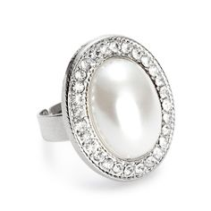 Jon Richard Crystal Surround Oval Pearl Adjustable Ring- at Debenhams.com