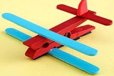 Airplanes.. Cloths pin and Popsicle sticks the a foam tail! So neat...