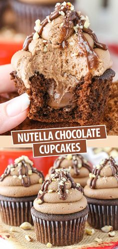 These Nutella Chocolate Cupcakes are made with soft moist chocolate cupcakes a Nutella center and Nutella frosting! Easy Cake Recipes, Easy Desserts, Sweet Recipes, Baking Recipes, Dessert Recipes, Good Cupcake Recipes, Simple Cupcake Recipe, Easy Delicious Desserts, Homemade Desserts