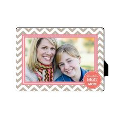 World's Best Mom Chevron Desktop Plaque, Rectangle, 5 x 7 inches, Brown