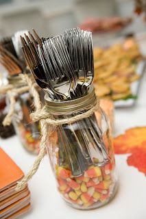 Harvest Party - Utensil holder/mason jar with candy corn! Can switch out for any event.
