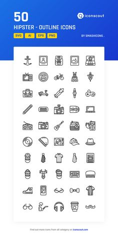 Hipster - Outline  Icon Pack - 50 Line Icons
