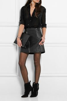 All Black & Different... Stripes, Leather, Sheer Wolford Polka Dots, & Suede