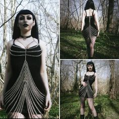 Silver chain dress alternativegoth fetish