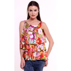 Romantic flower Tunic made of silk / Top with frills – a unique product by Konstantin-Miro-Group via en.DaWanda.com #colorful #springiscoming
