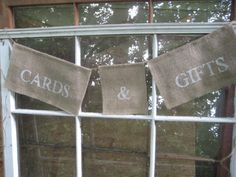 Burlap Cards Banner Rustic Wedding Decor via Etsy