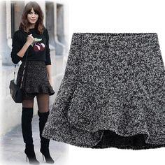 2014 nueva llegada de la primavera otoñoinvierno casual americana de la aptitud de las mujeres faldas de alta volantes mini cintura asimétrica delgado tutu de lana