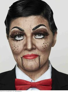 Wood grain ventriloquist dummy #halloween #makeup