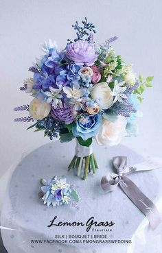 Purple Wedding Flowers Beautifully soft blue, lavender and white floral bouquet Boquette Wedding, Lilac Wedding, White Wedding Bouquets, Wedding Flower Arrangements, Flower Bouquet Wedding, Floral Wedding, Floral Arrangements, Bridal Bouquets, Trendy Wedding