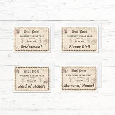 Harry Potter Will you be my Bridesmaid Matron of Honor Maid of Honor by CrissyDesignCo Bridal Bingo, Bridal Shower Games, Matron Of Honour, Maid Of Honor, Fingerprint Tree, Whats In Your Purse, Our Wedding, Wedding Ideas, Harry Potter Wedding