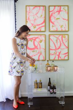 Our Lucite Bar Cart + Bee Print Shift