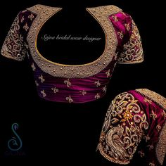 Want heavy bridal blouse to wear with your wedding lehenga/saree? These Chennai Bridal Blouse Designers make extraordinary blouses as per your requirement. Blouse Designs High Neck, Hand Work Blouse Design, Simple Blouse Designs, Fancy Blouse Designs, Wedding Saree Blouse Designs, Pattu Saree Blouse Designs, Wedding Blouses, Traditional Blouse Designs, Embroidery Designs