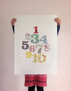 Children's number art print poster  FREE SHIPPING by dearmusketeer, $45.00