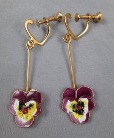 Vintage screw-back earrings delicate enamel pansies pansy dangles #Unsigned