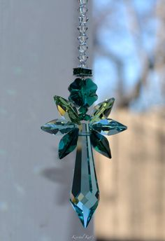 "9"" Guardian Angel Baby Irish Eyes Rainbow Crystal Suncatcher Green Shamrock, 4 Leaf Clover Rearview Mirror Car Charm Ornament Window Crystal"