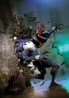 "extraordinarycomics: "" Spider-Man vs Venom by Juan Gedeon. """