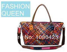 2014 Spring Fashion Queen Selected Genuine Leather Hand-Knitted Contrast Candy Color Women's Messenger Bag Female New Handbag US $79.00