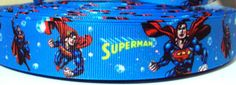 "3 Yards 7/8"" Superman Blue Inspired-Grosgrain Ribbon -Printed-Hair bow Supply-Craft-Party Decor-Fabric-Super hero-Wholesale-Supplies"