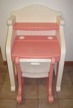Little Tikes Desk Victorian Child Play Size Pink & White Vanity