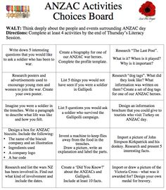Anzac Choice Boards, Think Deeply, Anzac Day, Remembrance Day, At Least, Activities, This Or That Questions, School, Anniversaries
