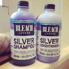 Bleach London Silver Shampoo and Conditioner. Amazing products which help eliminate brassy and yellow tones Leave In, Redken Shades Eq, Hair Shampoo, Shampoo And Conditioner, Bleach Shampoo, My Hairstyle, Cool Hairstyles, Woman Hairstyles, White Hair
