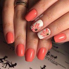 Brilliant Orange and White Floral Design Spring Square Oval Nail Manicure