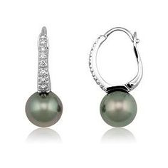 Boucles d'oreilles or, perle et diamants