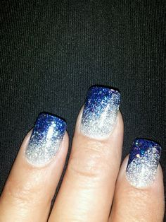 Blue and silver sparkle nails