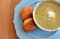 Vegan broccoli cheese soup with greek yogurt biscuits. 279 kcal. Portion size on http://www.fitlessflavor.com/week-7/