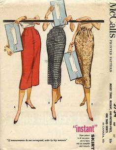 Vintage 1956 Instant Pencil Skirts  3 Variations...McCalls 3734 Waist 28