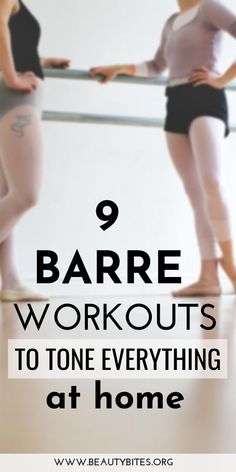 body 9 barre workouts to tone everything at home! Barre is the best full-body workout with effective ab exercises, arm exercises and leg exercises. Barre exercise routines are usually low-impact, which also makes them a great beginner workout! Workout Cardio, Barre Workout Video, Barre Exercises At Home, Pilates Video, Toning Workouts, At Home Workouts, Arm Exercises, Hiit, Fitness Exercises