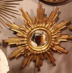 Mirror Sun mirror Sunshine mirror Sunburst mirror Gold frame Carved wood Gold wood frame Gold decor French vintage Wall mirror Gold mirror
